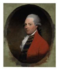 Portrait of General Richard Grenville, bust-length, in red coat, in a painted oval