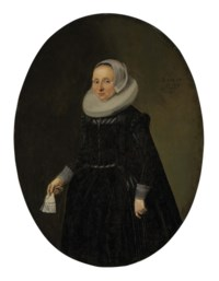Portrait of a lady, three-quarter-length, in black holding lace gloves