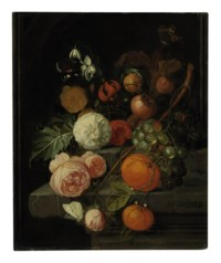 Roses, lilies, grapes, oranges and horse chestnuts on a stone ledge with butterflies, ants and a bee