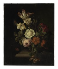 A rose, tulip, carnation, poppy and other flowers in a vase on a ledge, with a butterfly