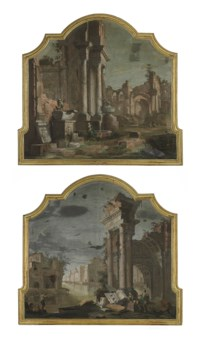 A capriccio with classical ruins; and A capriccio with a ruined classical arch on a canal