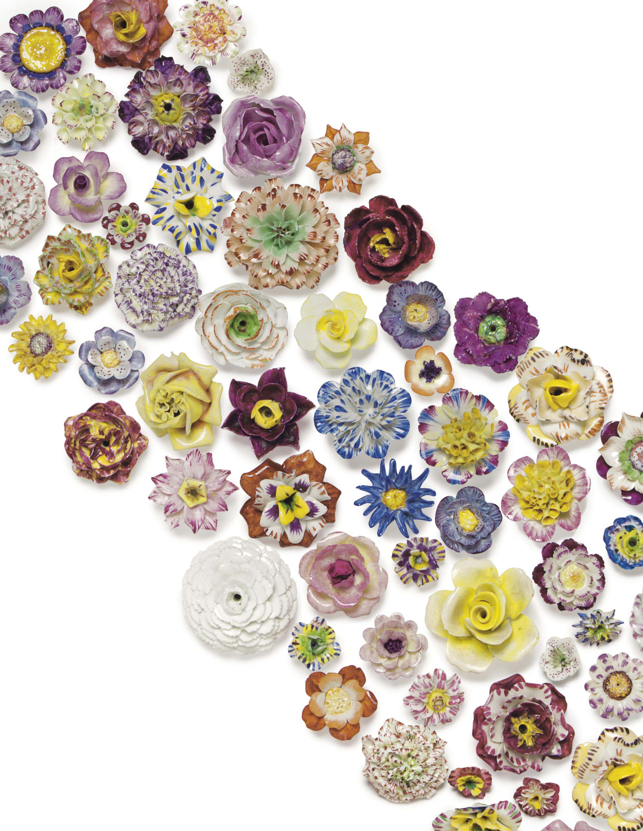 A COLLECTION OF APPROXIMATELY SEVENTY-EIGHT CONTINENTAL PORCELAIN FLOWERS