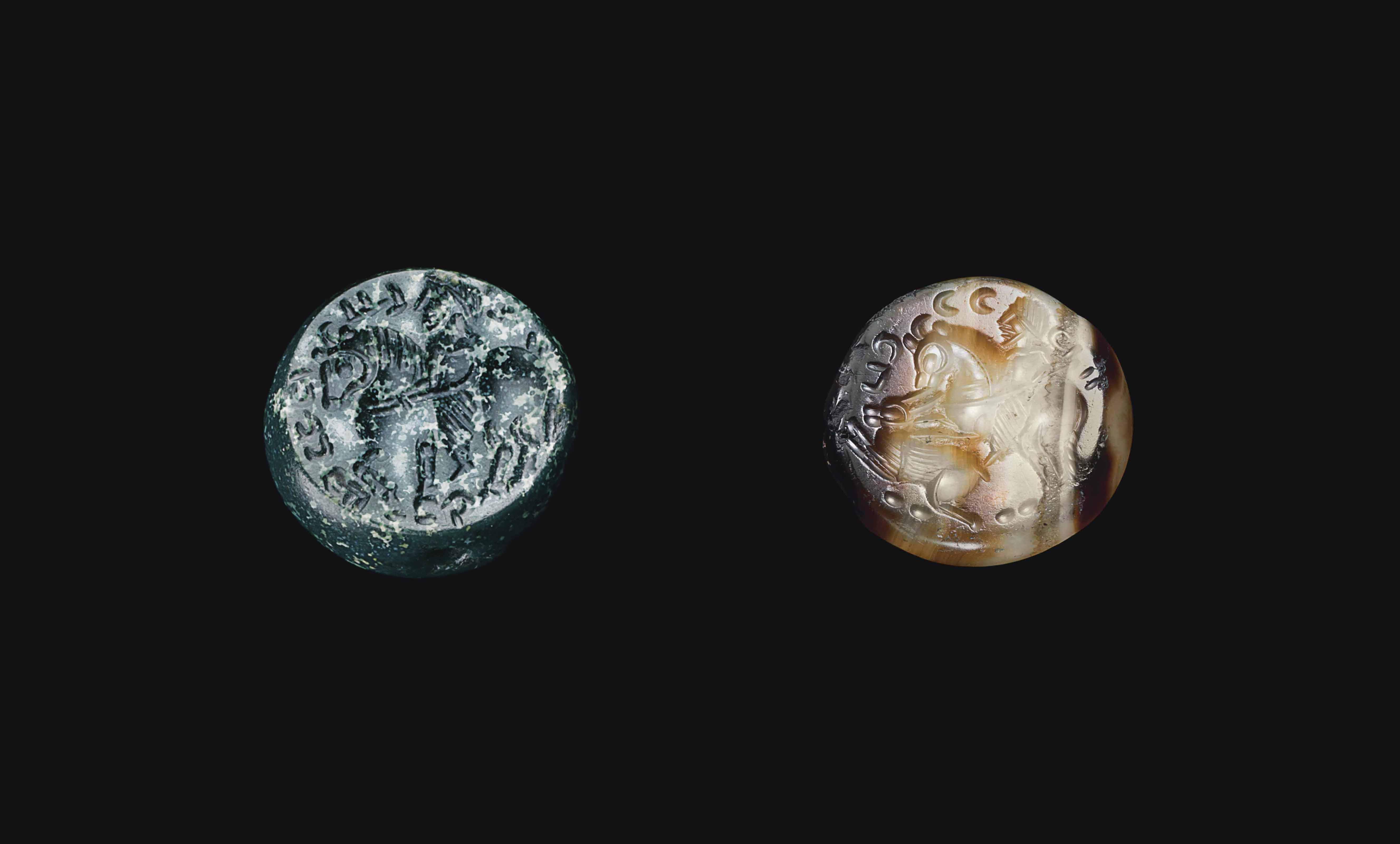 TWO SASANIAN STONE SEALS