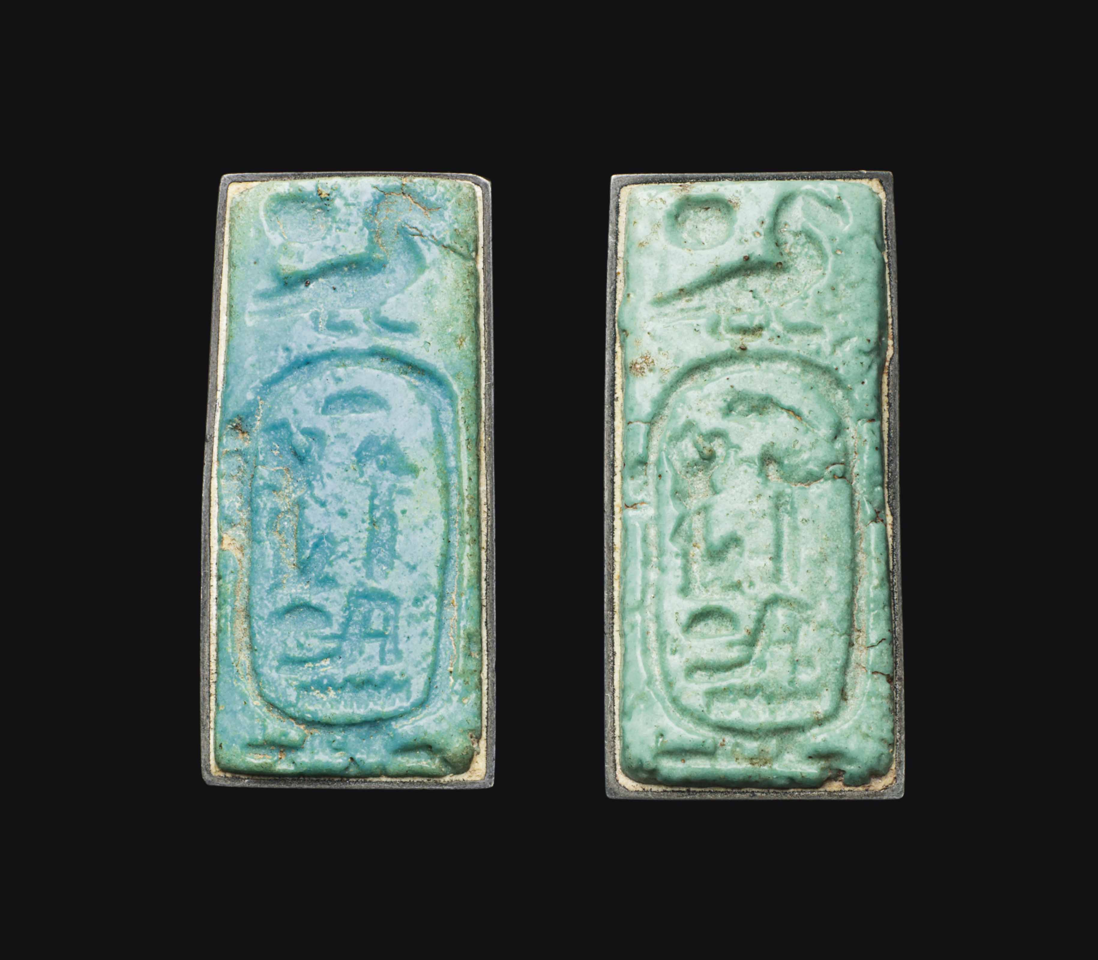 TWO EGYPTIAN FAIENCE PLAQUES