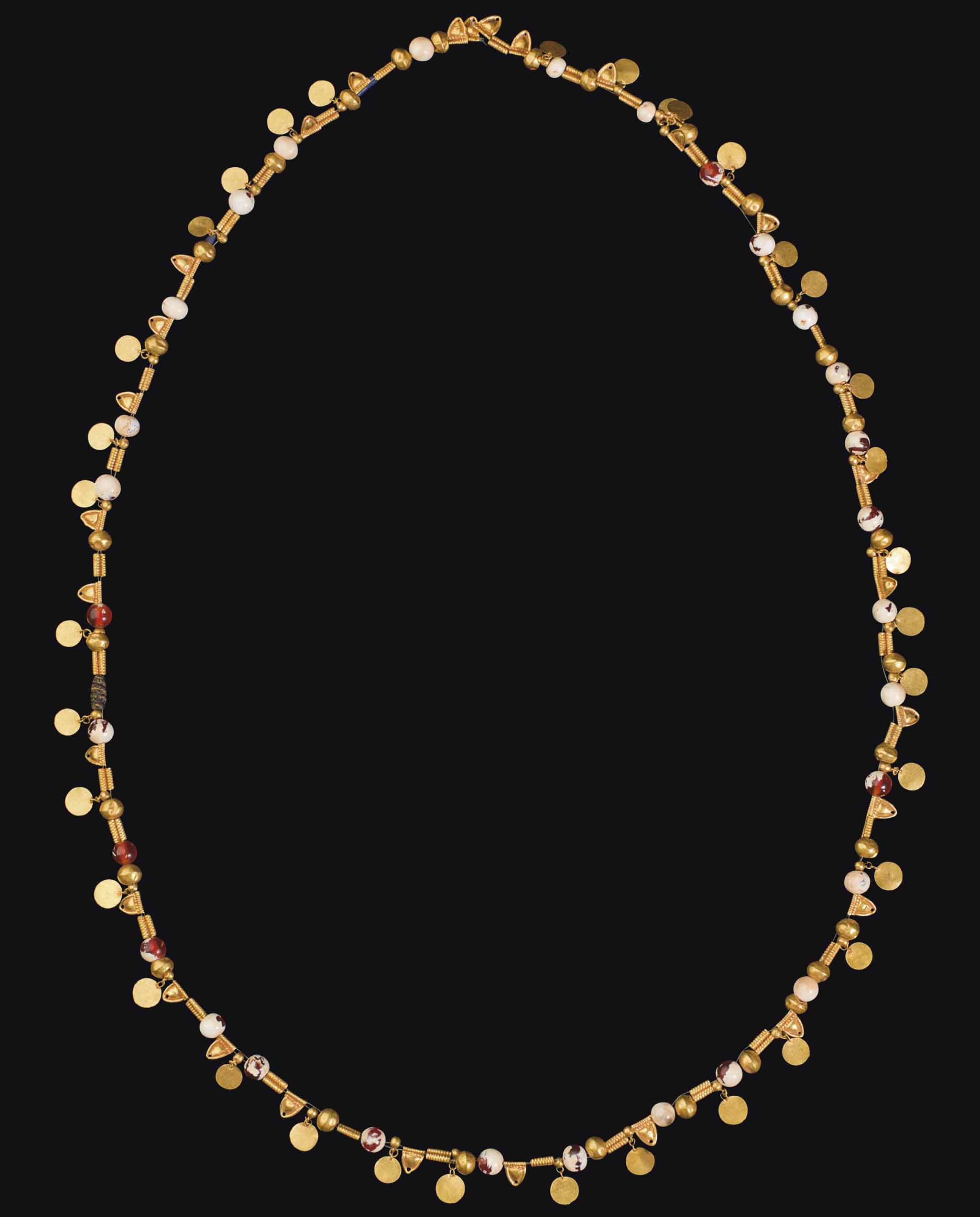 A GREEK GOLD AND CARNELIAN BEAD NECKLACE