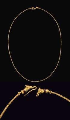 A GREEK GOLD AND GARNET NECKLA
