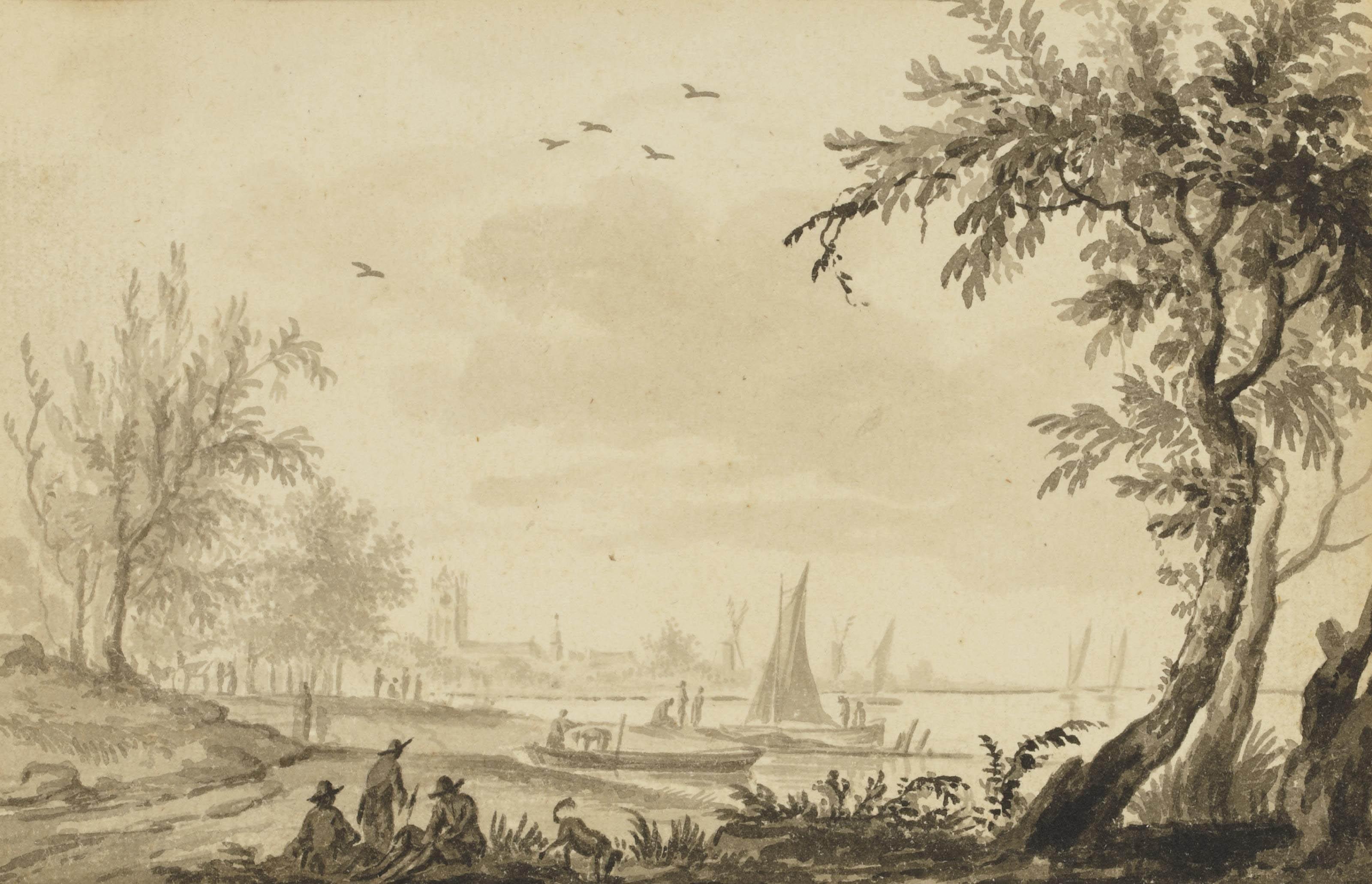 Paysan avec son troupeau aux abords d'un village; et Bateaux au bord du rivage