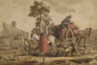 Une mère et ses enfants devant le chargement d'une charrette