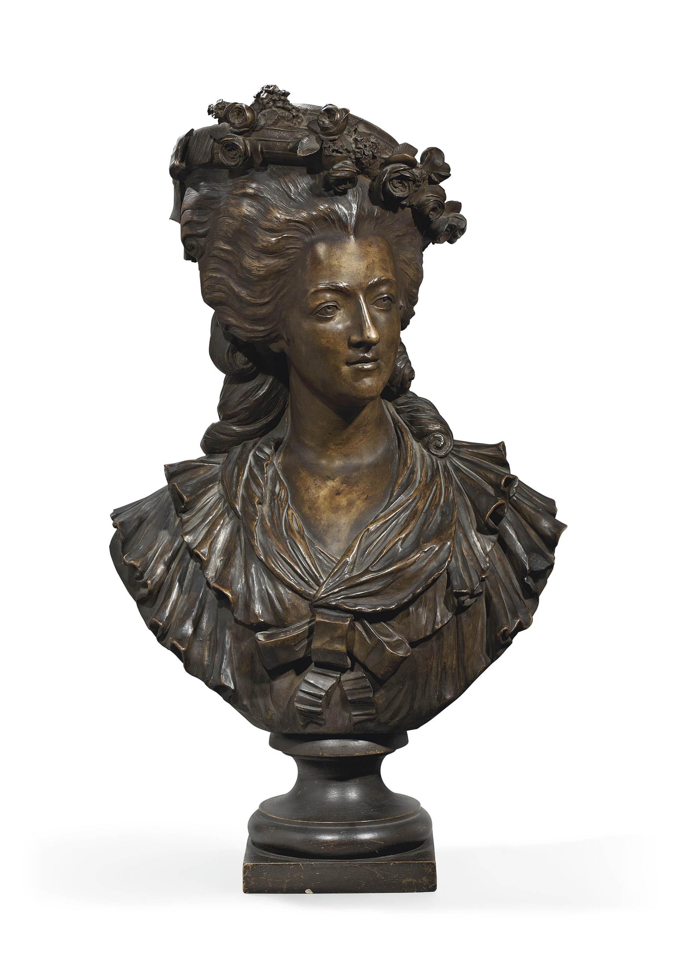 buste en platre peint a l 39 imitation du bronze representant une jeune femme niederviller. Black Bedroom Furniture Sets. Home Design Ideas