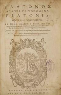 PLATON (428 ?-347 av. J.-C.). Opera quae extant omnia. Paris: Henri Estienne, 1578.