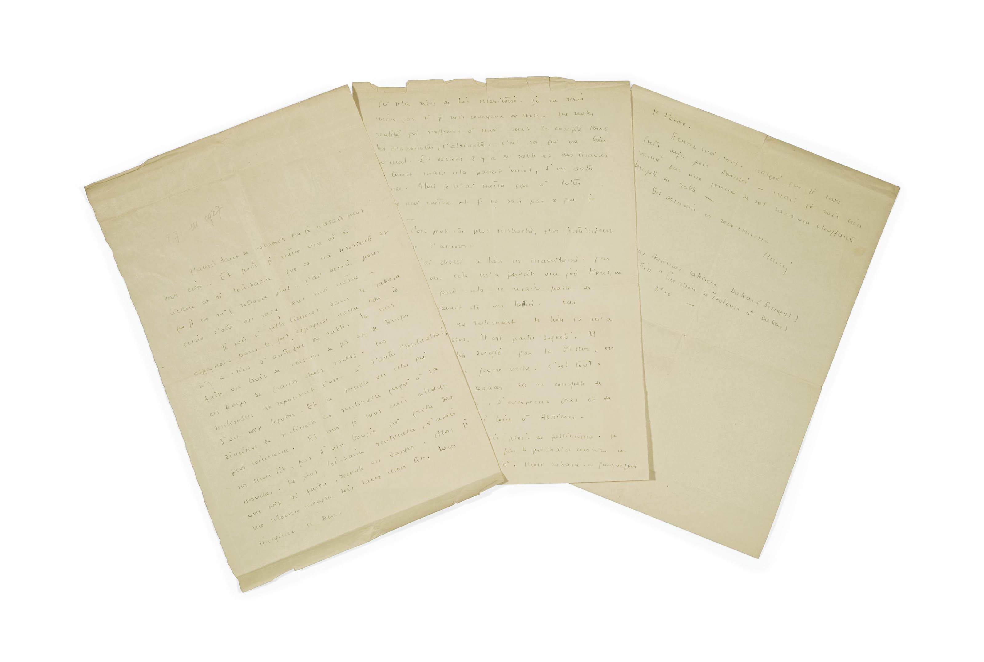 """SAINT-EXUPÉRY, Antoine de. Lettre autographe signée """"Antoine"""" adressée à Lucie-Marie Decour. [Villa-Cisneros, 27 mars 1927 (date ajoutée au crayon, d'une autre main)]."""