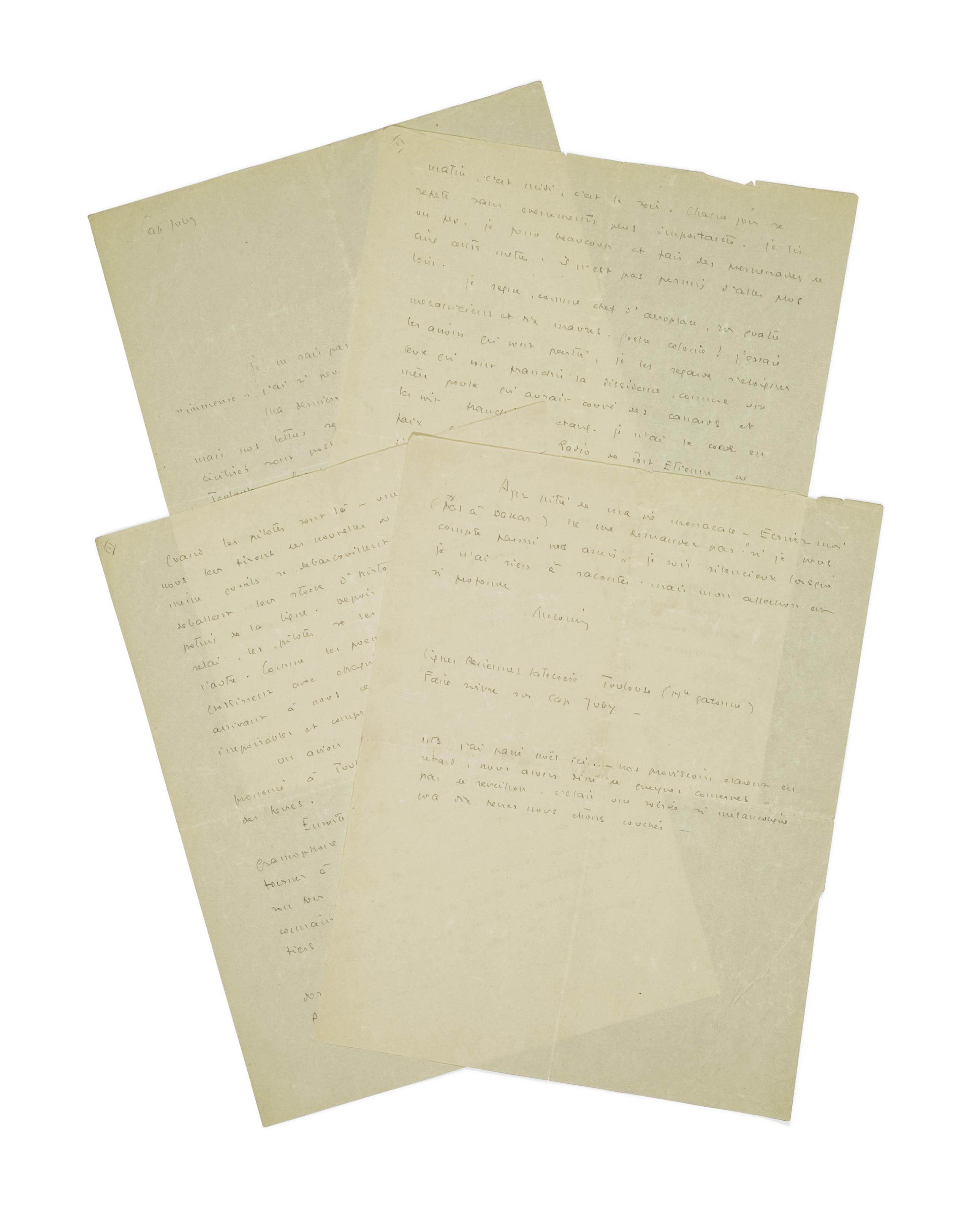 """SAINT-EXUPÉRY, Antoine de. Lettre autographe signée """"Antoine"""" adressée à Lucie-Marie Decour. Cap Juby, sans date [décembre (?) 1927]."""