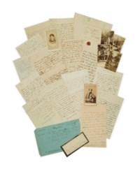 """SAND, George (1804-1876). 26 lettres autographes signées """"George"""", """"George Sand"""" ou """"G.S."""", et une fois """"Piffoël"""", à Auguste, baron Martineau des Chesnez. Entre 1836 et 1870, la plupart non datées. Encre sur papier, souvent avec suscription à son domicile ou au ministère de la guerre. Provenance: baron Martineau des Chesnez -- puis par descendance au propriétaire actuel."""