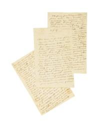 """SAND, George (1804-1876). Lettre autographe à son amie Charlotte Marliani, datée du 2 novembre 1847. 9 pages in-8 (204 x 132 mm) sur 3 feuillets au chiffre """"GS"""" à froid (une déchirure avec trace de réparation ancienne)."""