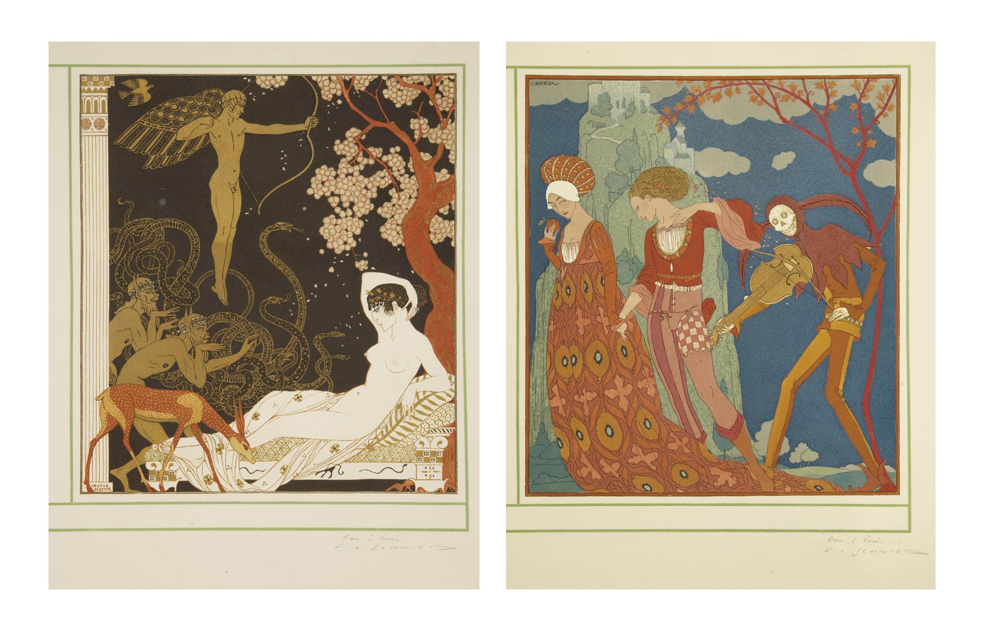 BARBIER, George (1882-1932). Personnages de comédie. Texte par Albert Flament gravures sur bois par Schmied. Paris: chez Maynial, 1922.