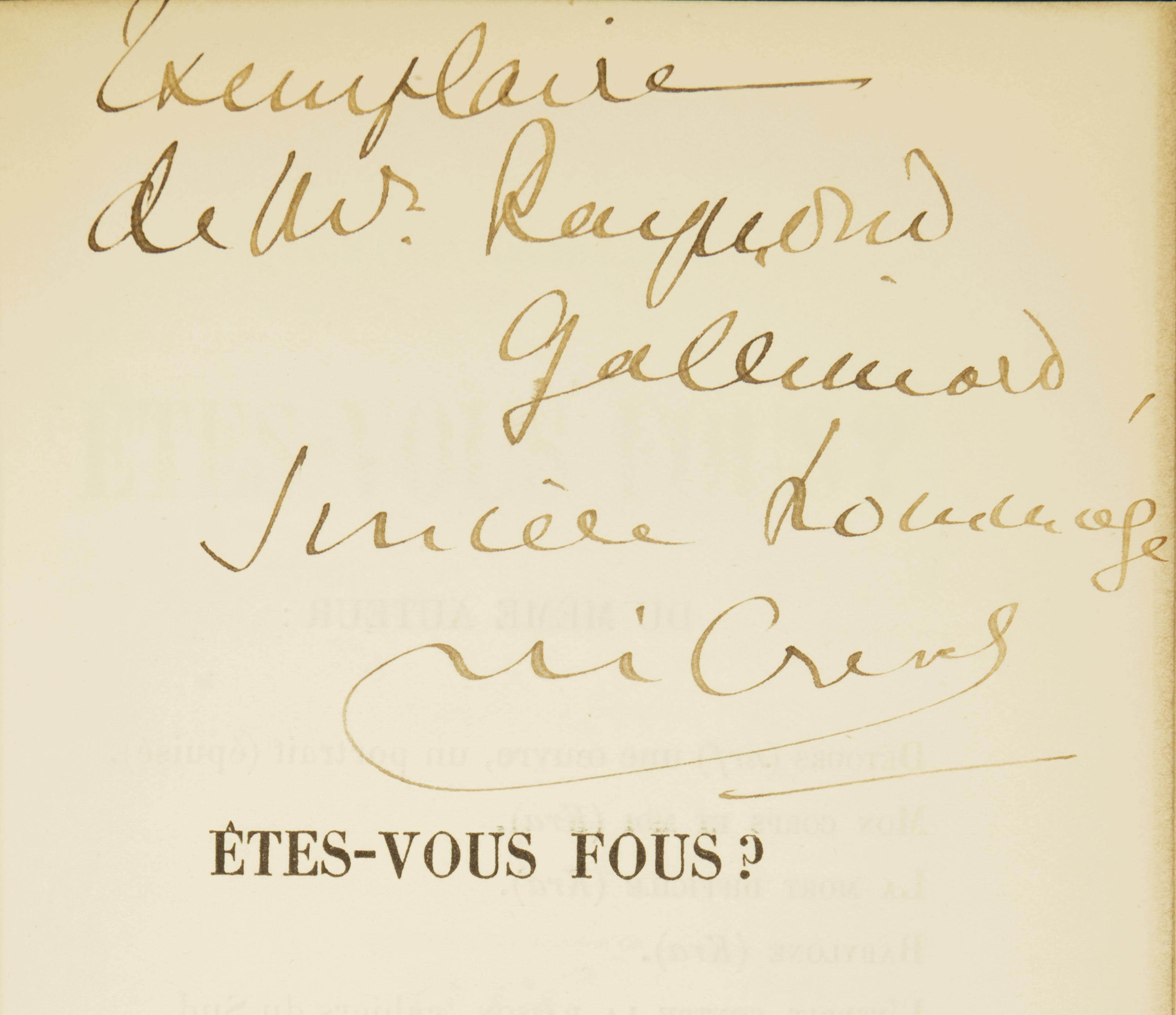 CREVEL, René (1900-1935). Êtes-vous fous?. Paris: NRF, 1929.