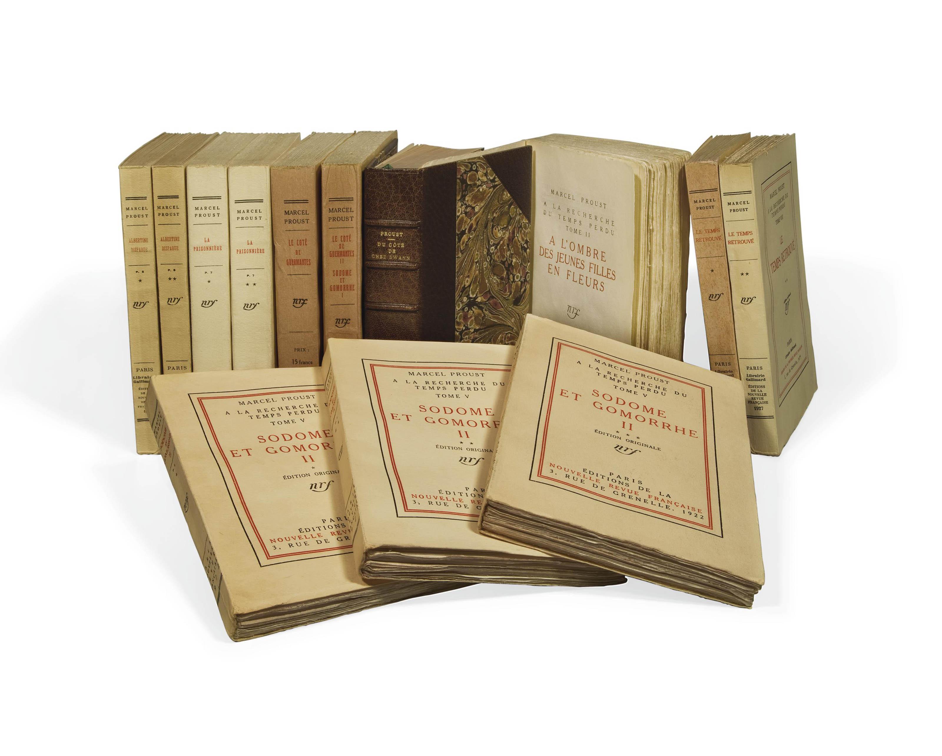 PROUST, Marcel (1871-1922). À la Recherche du temps perdu. Volume I: Paris: Grasset, 1913; volumes II-XIII: Paris: Gallimard, 1918-1927.