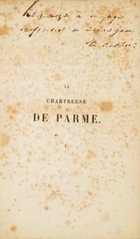 STENDHAL, Henri BEYLE, dit (1783-1842)]. La Chartreuse de Parme. Par l'auteur de Rouge et Noir. Paris: imprimerie de Ad; Éverat et Cie. pour Ambroise Dupont, 1839.