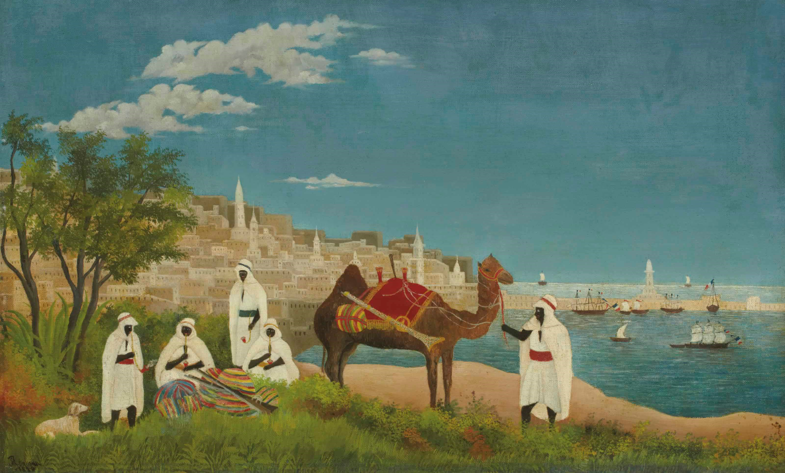 """""""海关关税员""""亨利・卢梭(1844-1910),《阿尔及尔风景》,1880年作。油彩 画布。37.8 x 60.8公分(14 ¾ x 24�迹�。此作于2012年5月23日在佳士得巴黎售出,成交价385,000欧元"""
