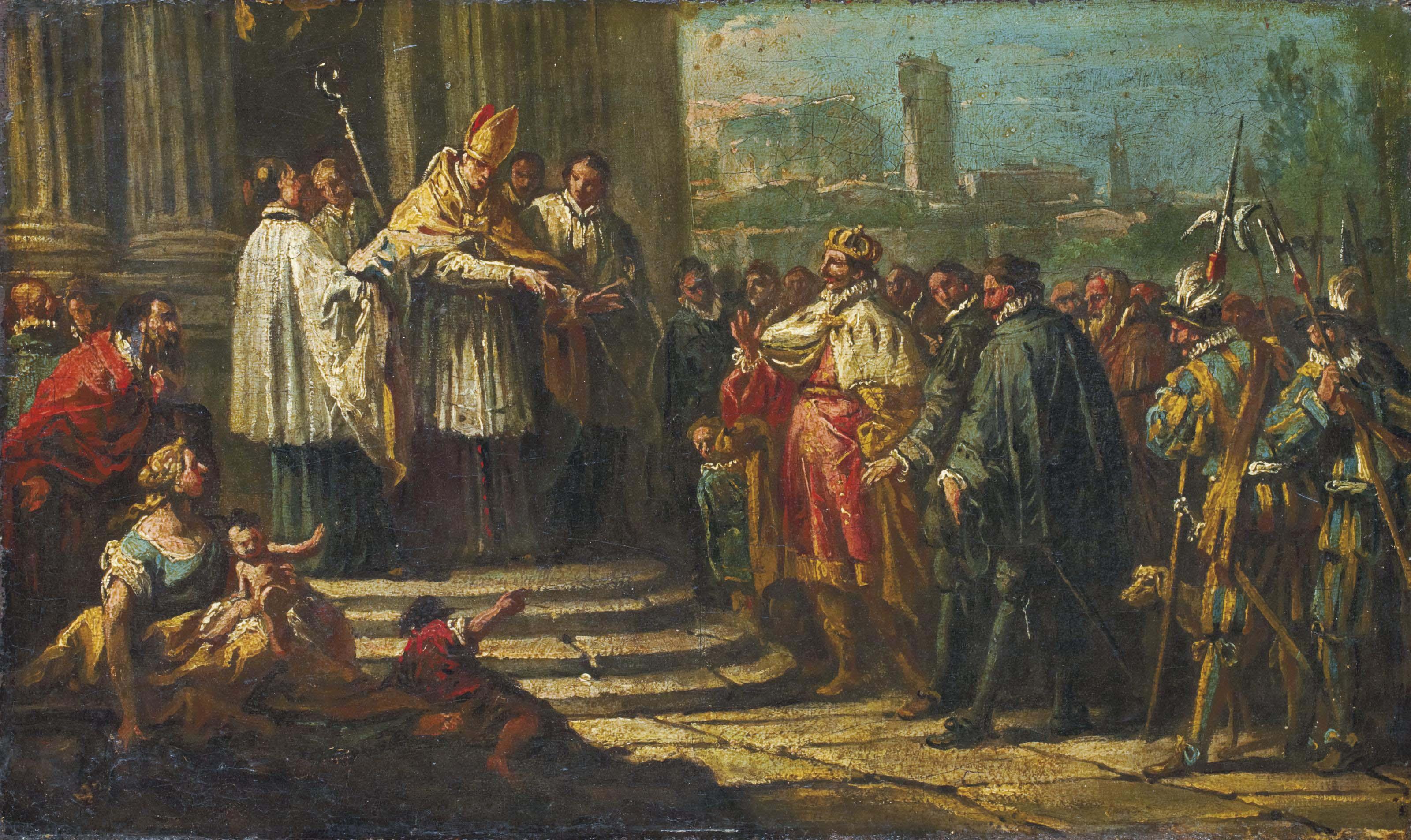 Saint Ambroise refusant l'accès de son église à l'empereur Théodose