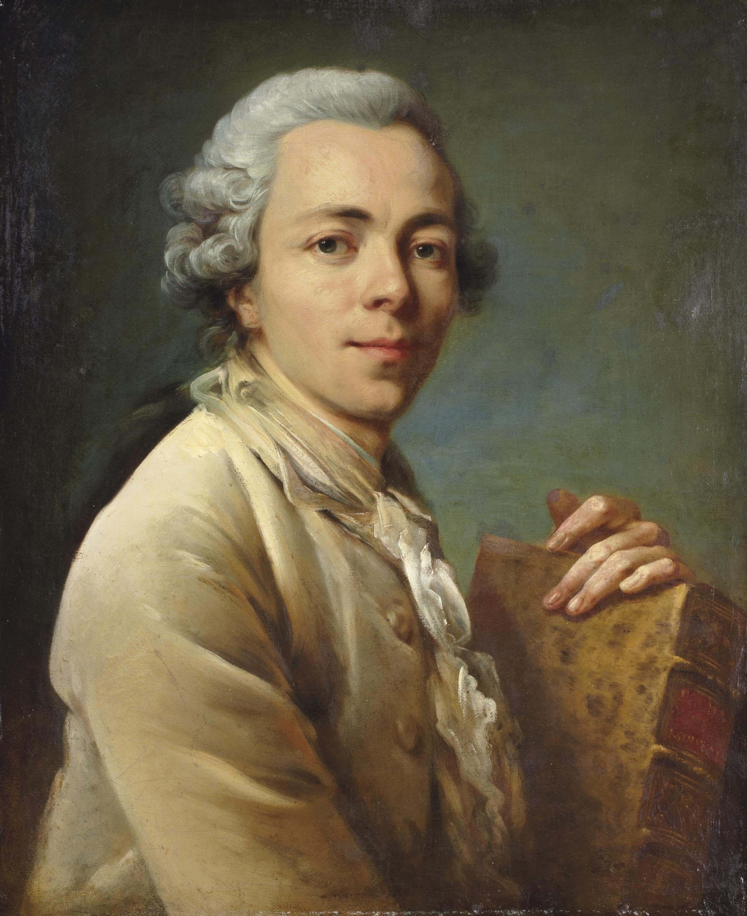 Portrait d'un homme portant un exemplaire des Essais de Montaigne