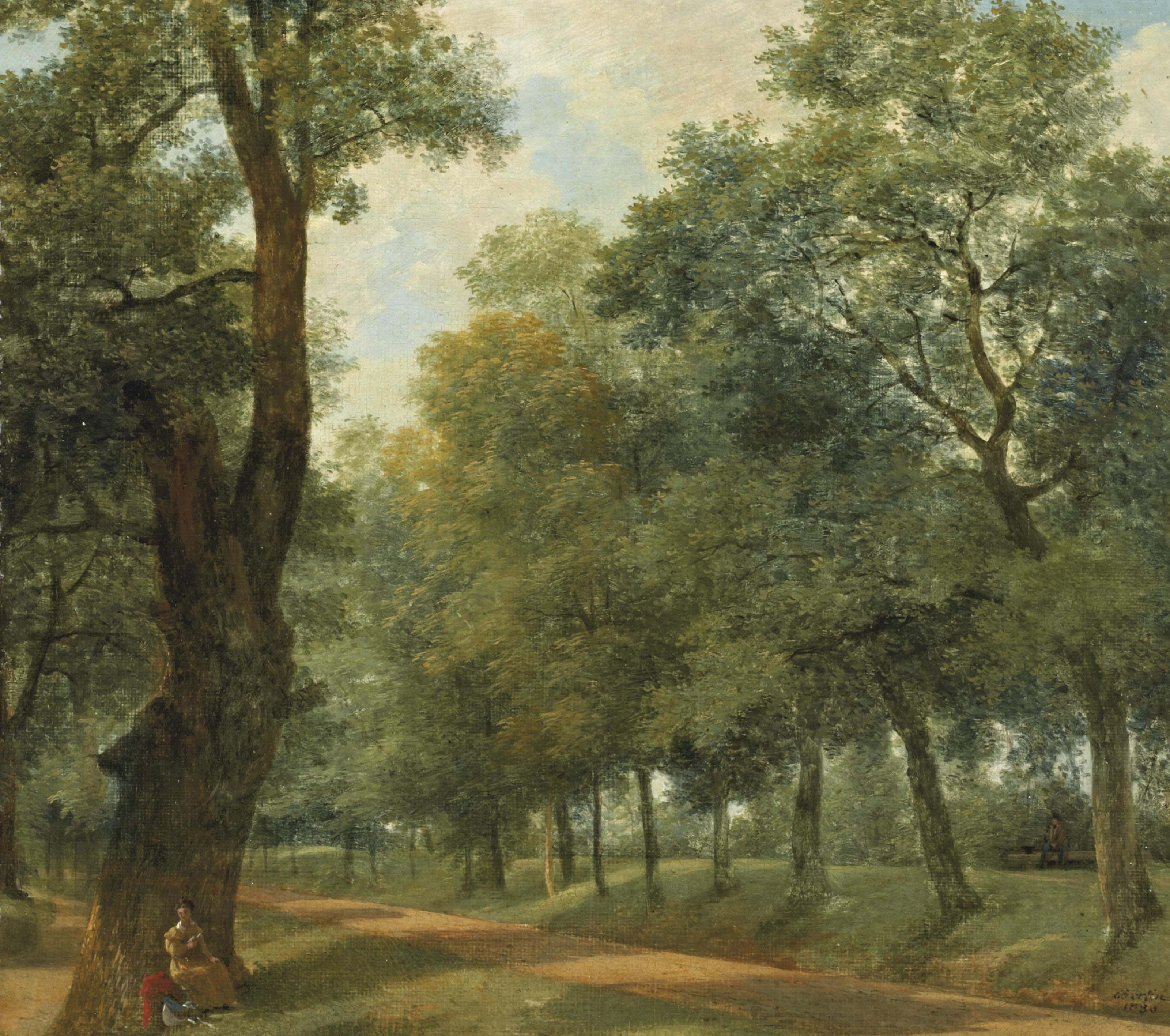Liseuse au pied d'un arbre