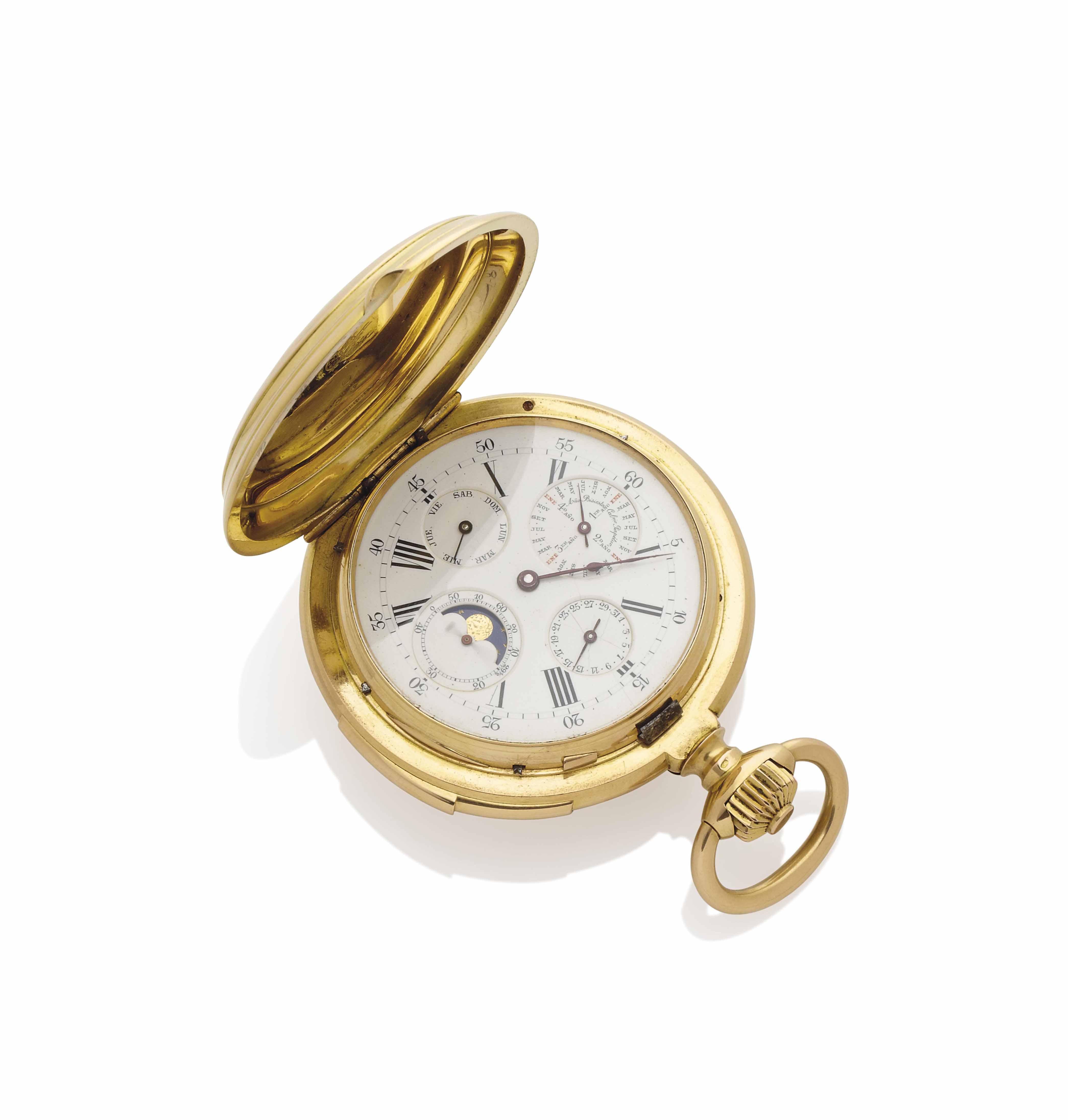 MONTRE DE POCHE SAVONNETTE A REPETITION MINUTES ET CALENDRIER PERPETUEL DIAMANTS, PAR E.H. JACCARD & CIE