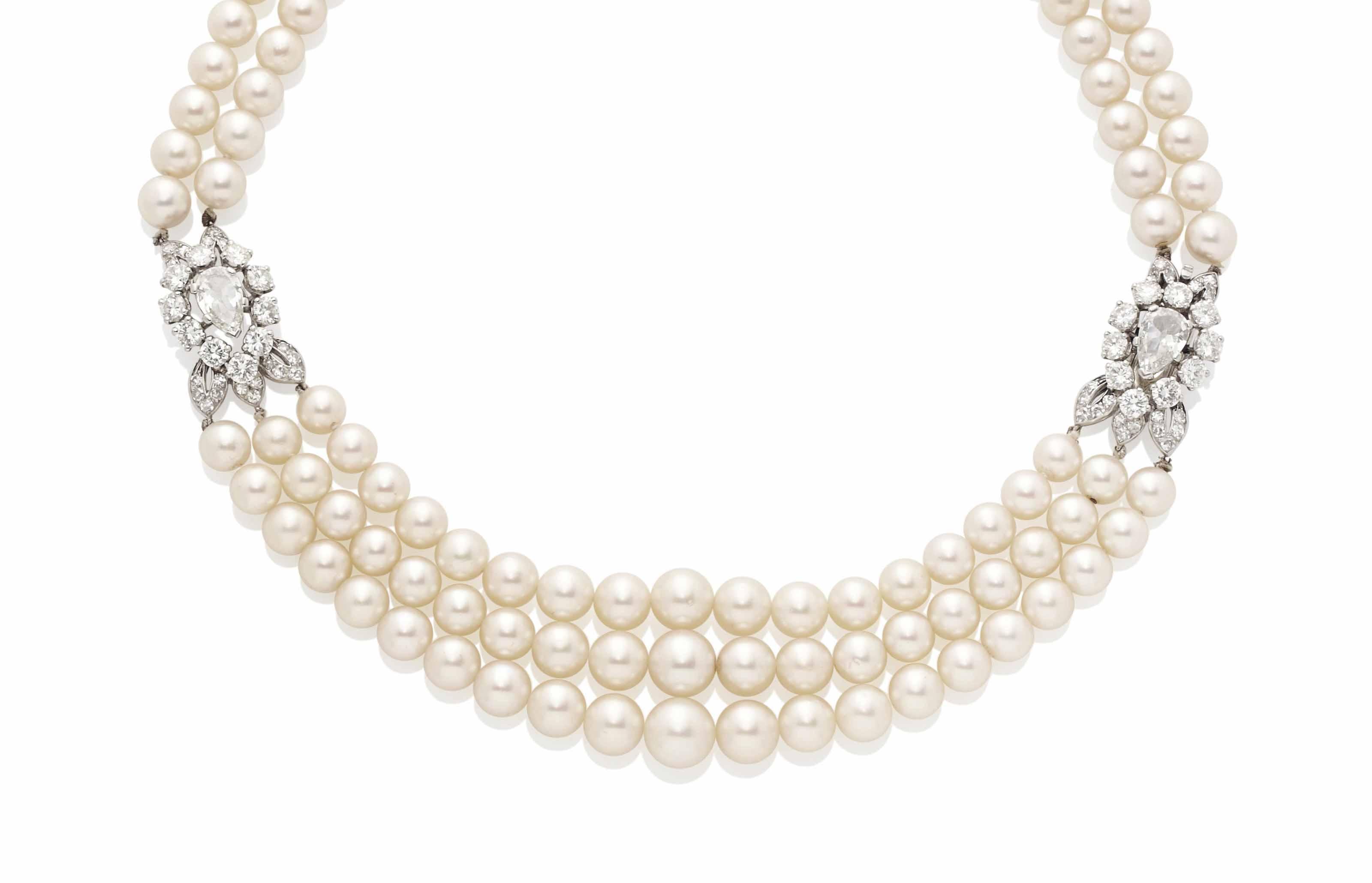 collier de perles de culture fermoir diamants monture par cartier christie 39 s. Black Bedroom Furniture Sets. Home Design Ideas