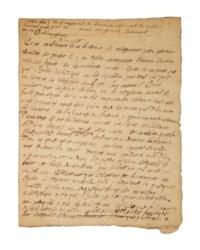 """BOSSUET, Jacques-Bénigne (1627-1704). Pièce autographe de 7 pages et demie. Fragment d'un sermon, daté de la fin 1647. (Traces de pliures.) Ratures et corrections. Conservée dans un étui de maroquin ébène signé P.-L. Martin, roulette intérieure dorée, doublure de moire rose. Provenance: M. de Chateaugiron (mention manuscrite """"il m'a été donné par m. de Chateaugiron"""")."""