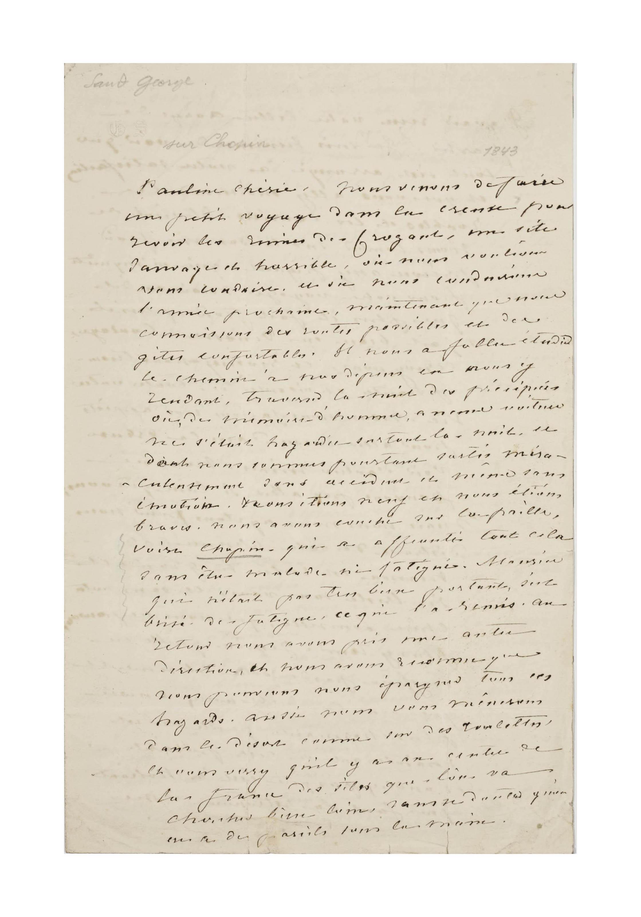 SAND, George (1804-1876). Lettre autographe, non signée, à Pauline Viardot. [Marque postale du 1er octobre 1843].