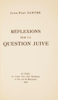 SARTRE, Jean-Paul (1905-1980). Réflexions sur la question juive. Paris: Morihien, 1946.
