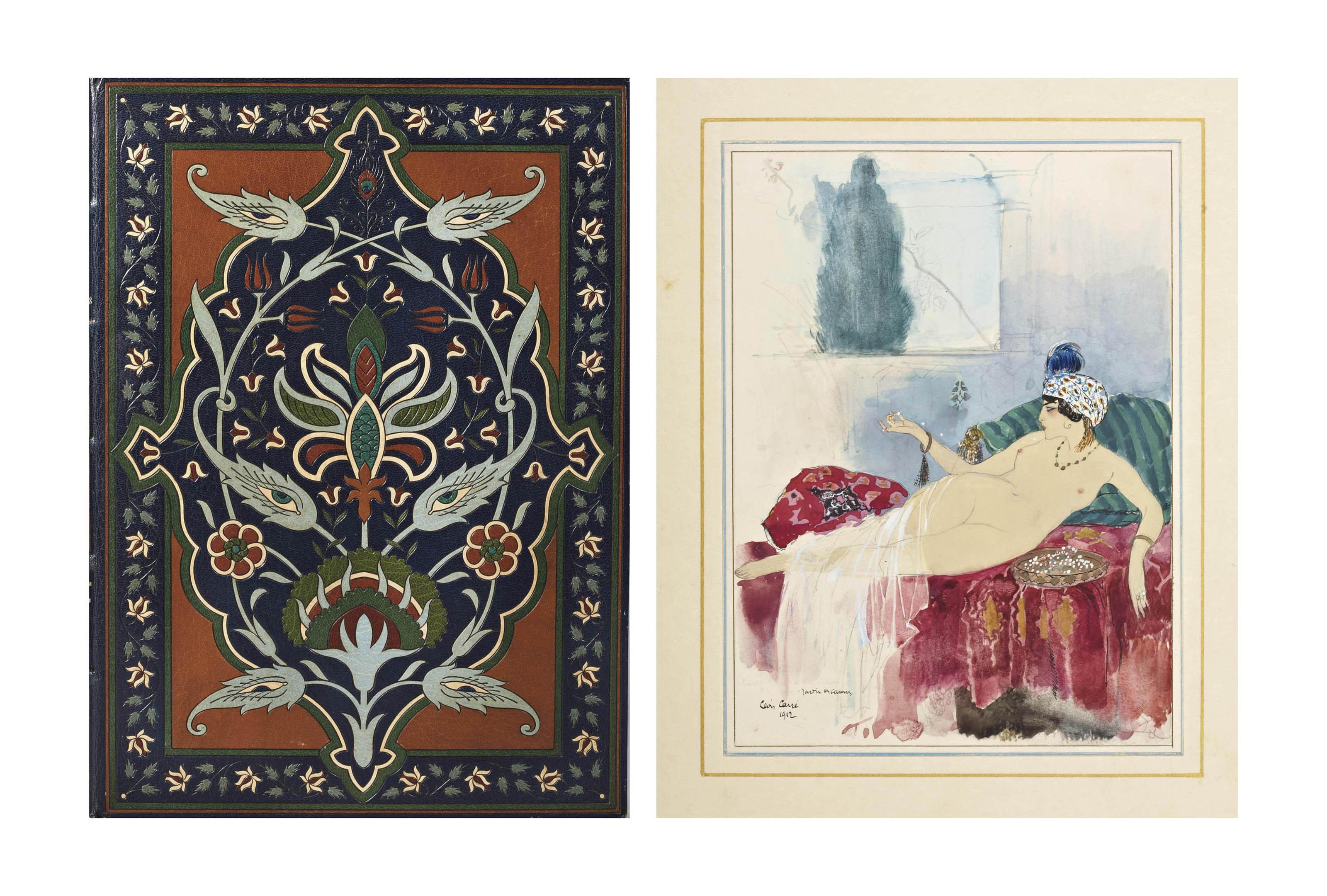 [CARRÉ] -- TOUSSAINT, Franz (1879-1955). Le Jardin des caresses. Traduit de l'arabe. Illustrations de Léon Carré. Paris: G. Kadar pour l'édition d'art H. Piazza, 30 mai 1914.