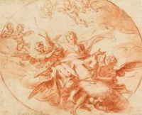 L'Assomption; et Deux anges portant la croix