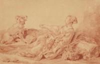 Bergère assise avec son chien