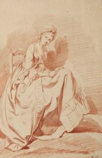 Jeune femme assise, tournée vers la droite