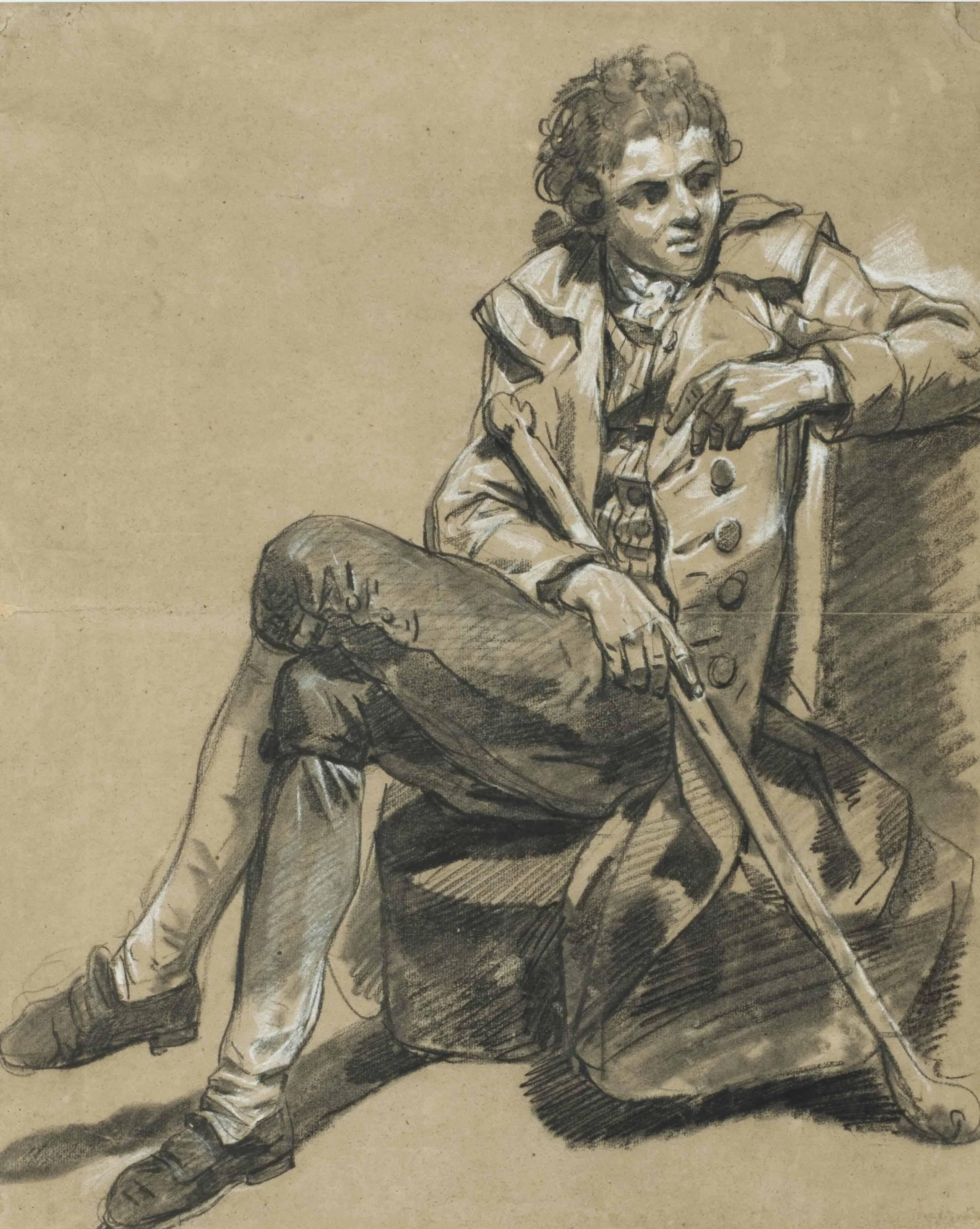 Un homme assis tenant un gourdin