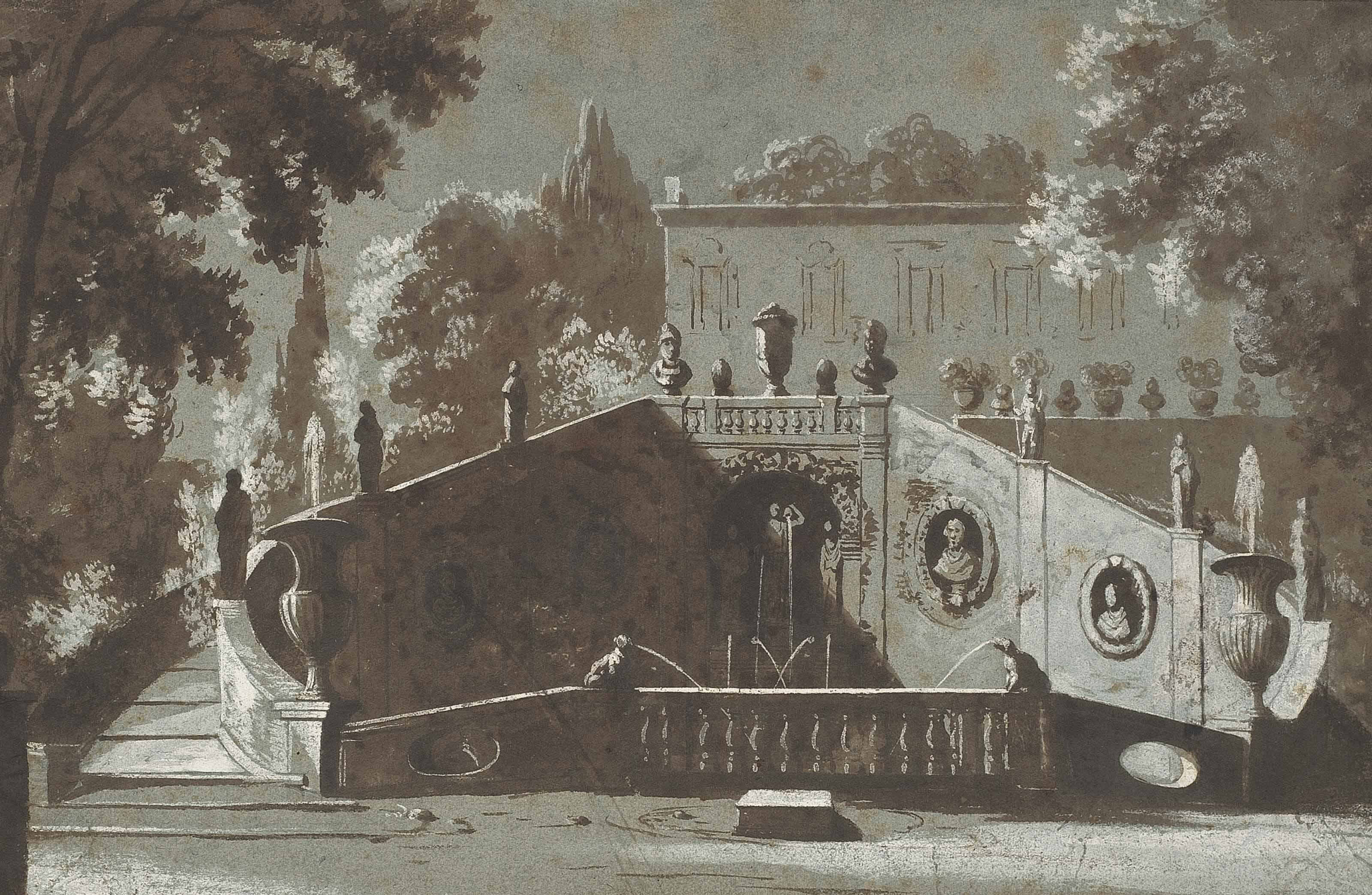 Un jardin à l'italienne avec une fontaine monumentale et une villa à l'arrière-plan