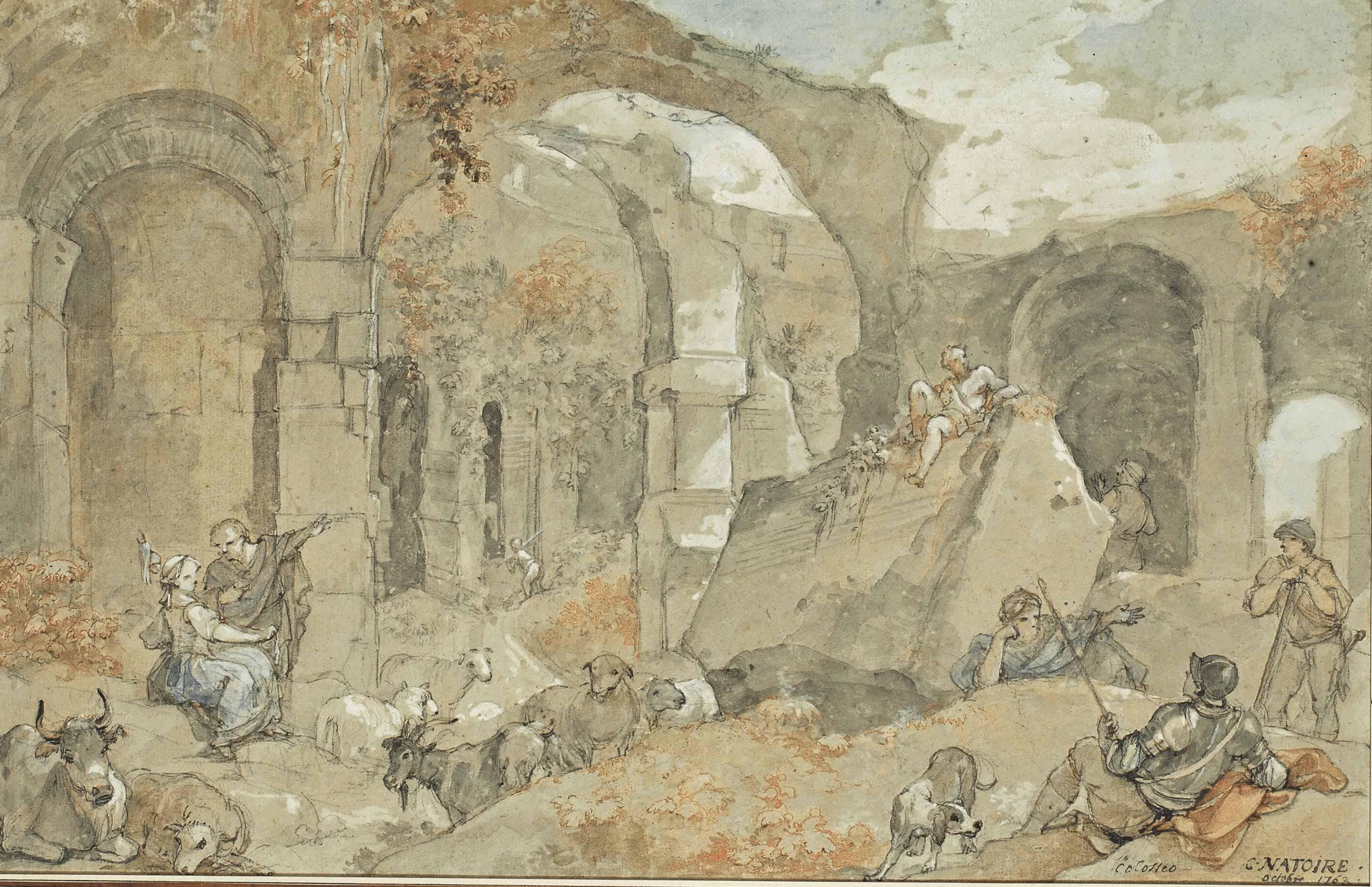 L'intérieur du Colisée avec bergers et animaux