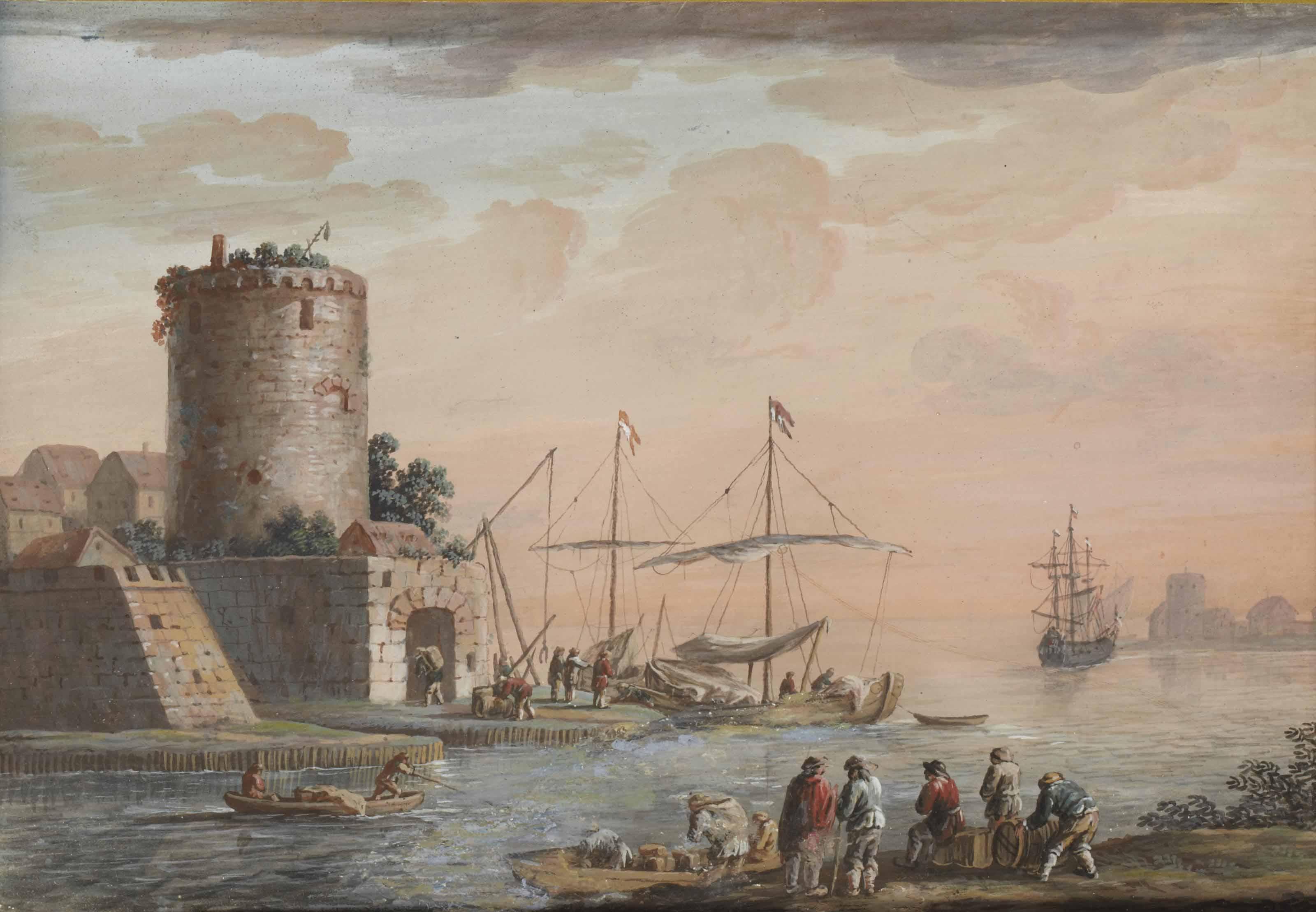 Pêcheurs à l'entrée d'un port fortifié