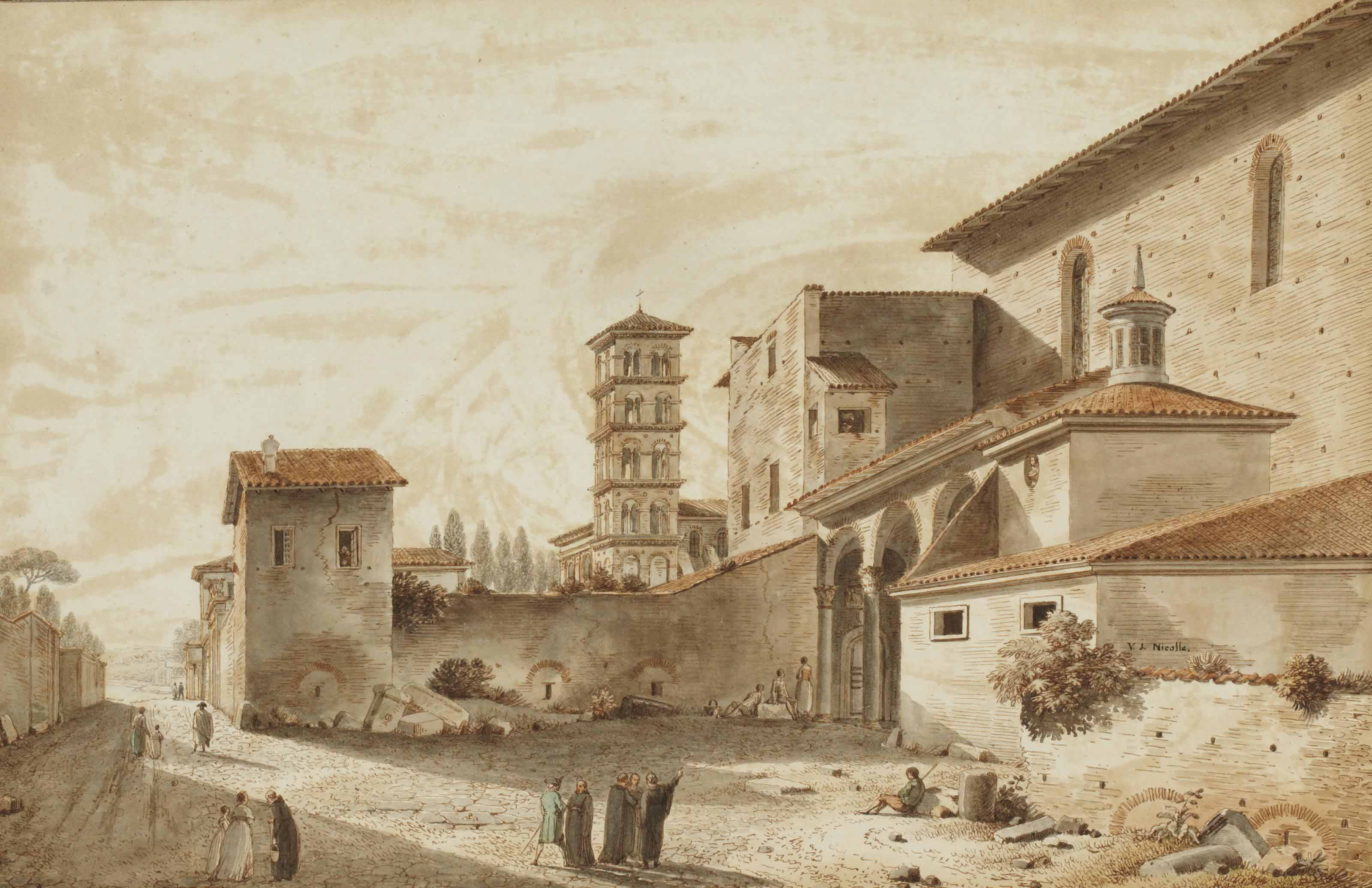 Vue du clocher de Saint Alexis et de l'entrée de l'église de Sainte Sabine sur le mont Aventin à Rome
