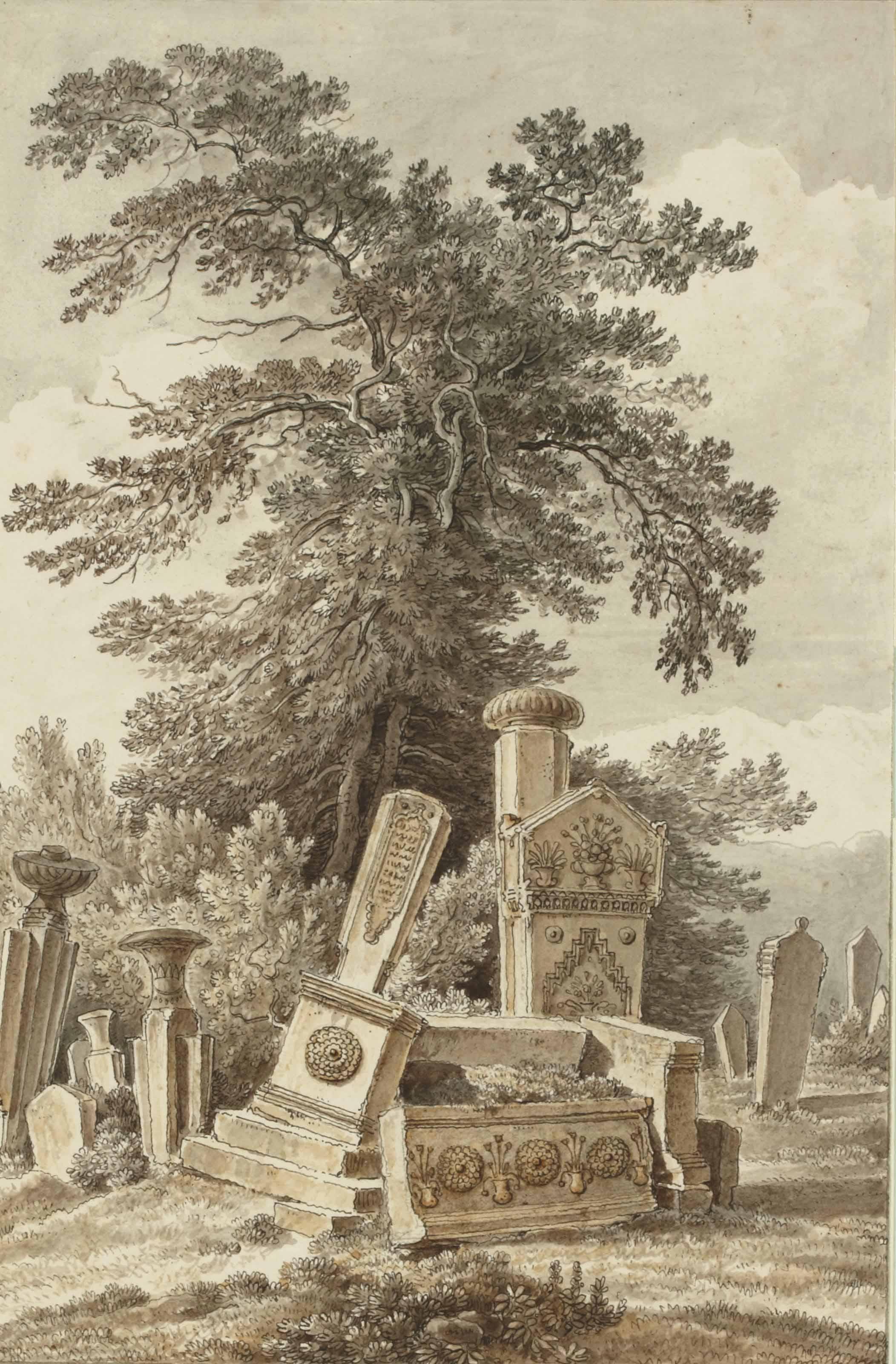 Stèles en ruine dans un cimetière d'Orient