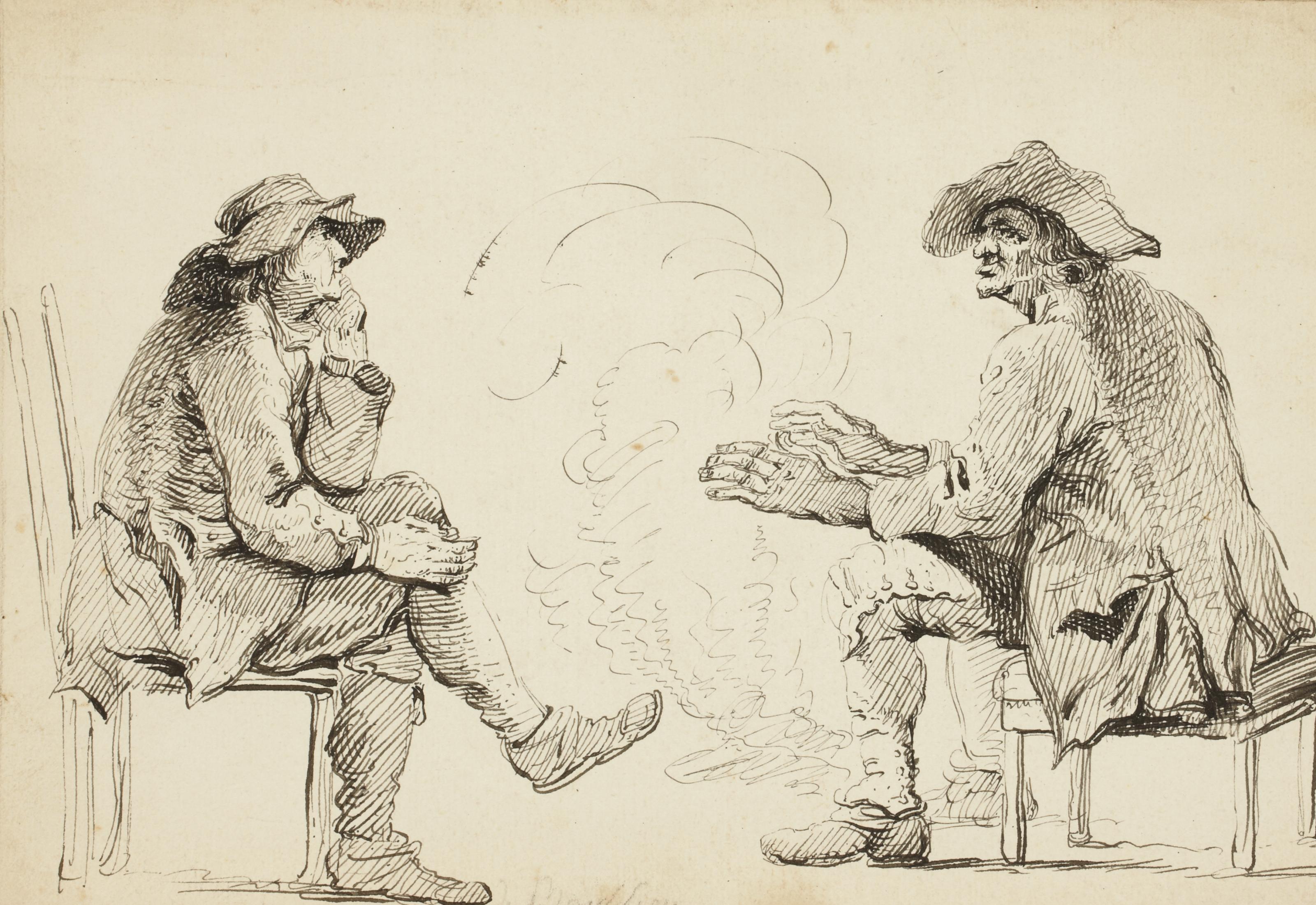 Deux hommes se réchauffant près d'un feu