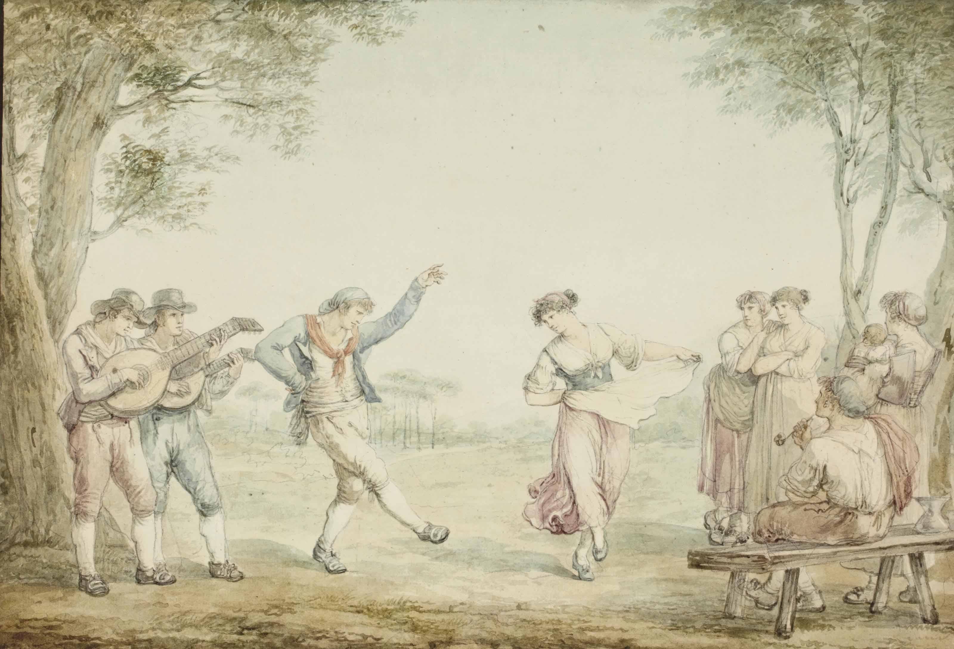 Paysans dansant et musiciens dans la campagne romaine