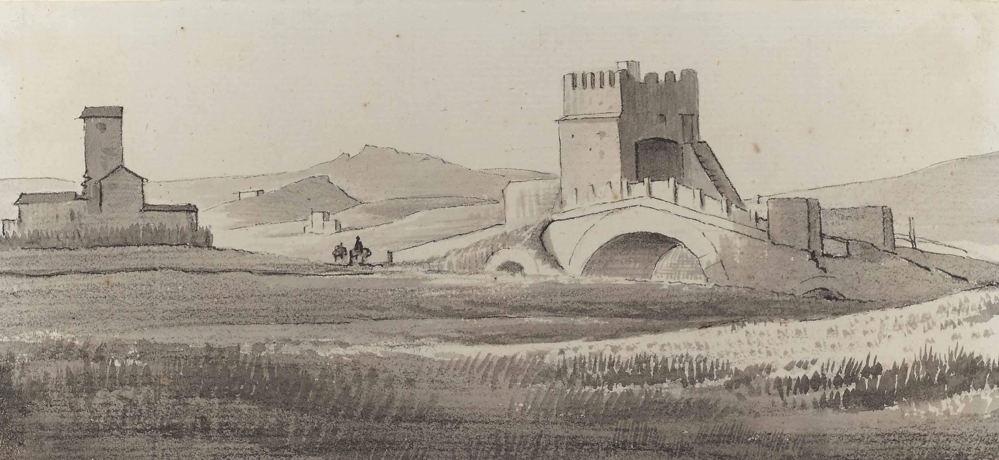 La campagne romaine avec vue sur l'aqueduc Claudien; Le Palais Chigi à Ariccia; et Le pont Milvius