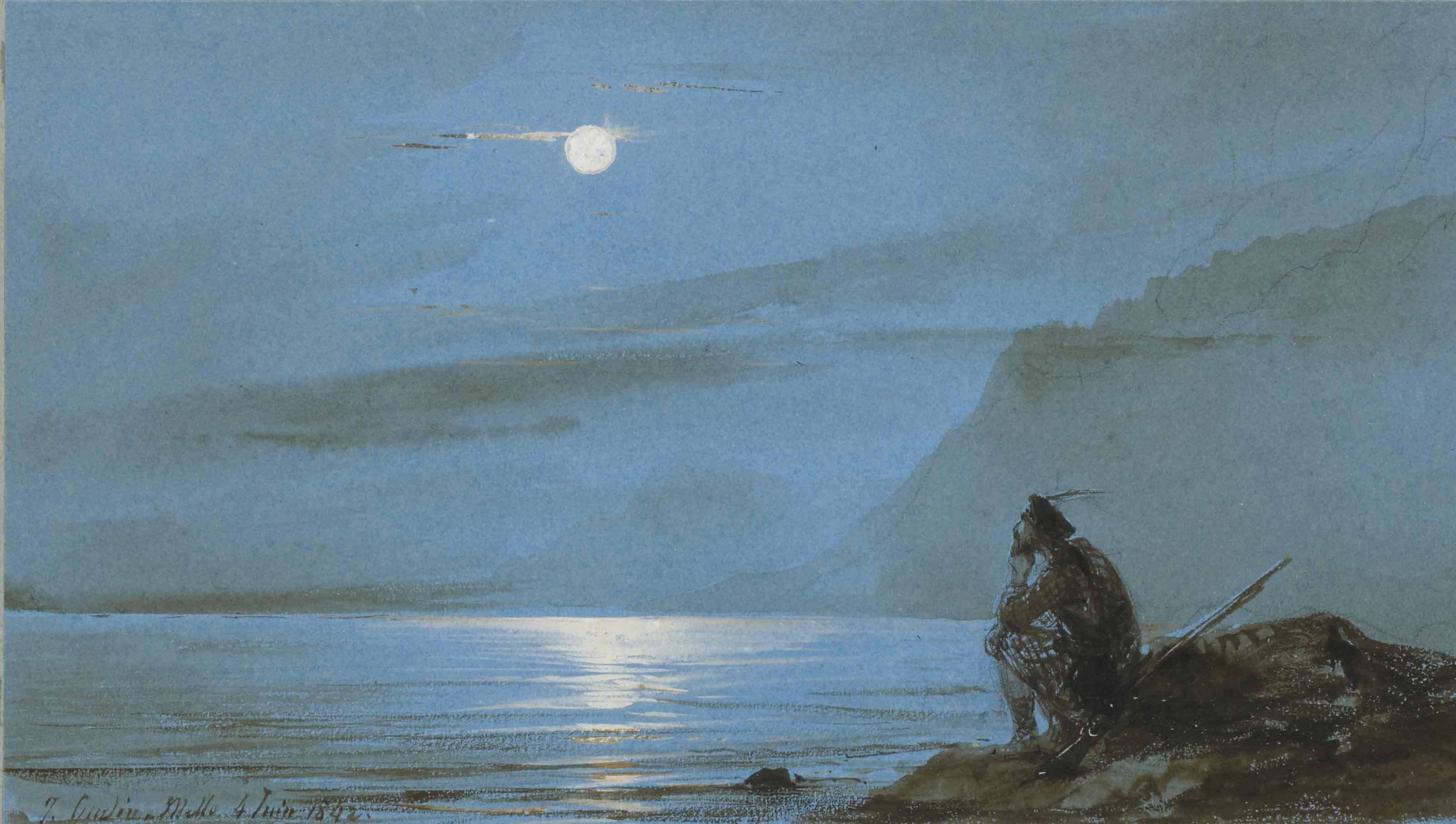 Soldat écossais méditant au bord de l'eau au clair de lune