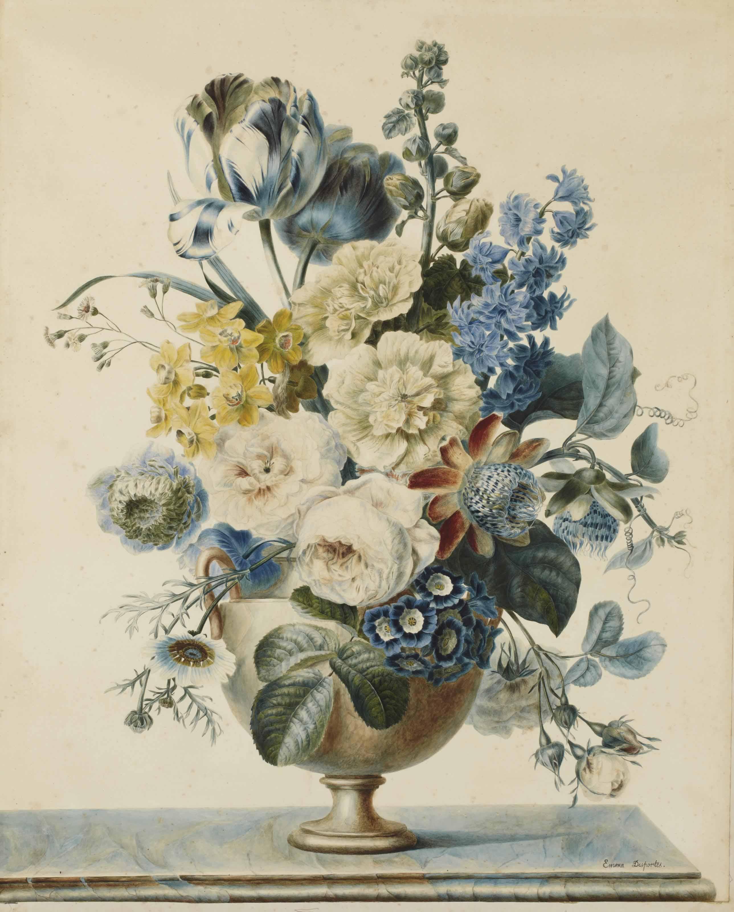 Bouquet de fleurs sur un entablement composé de tulipes, roses et autres fleurs