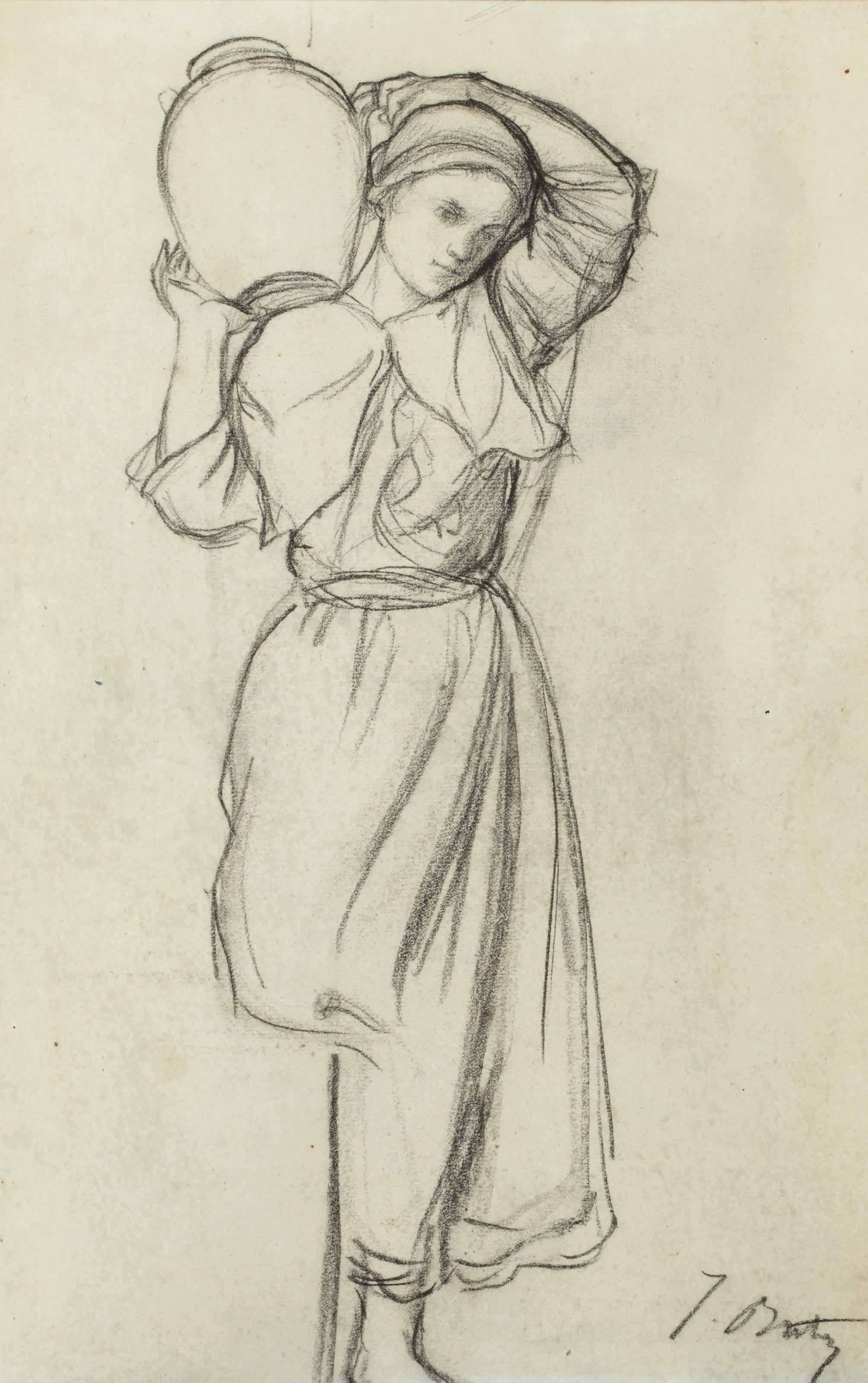 Femme portant une jarre sur l'épaule
