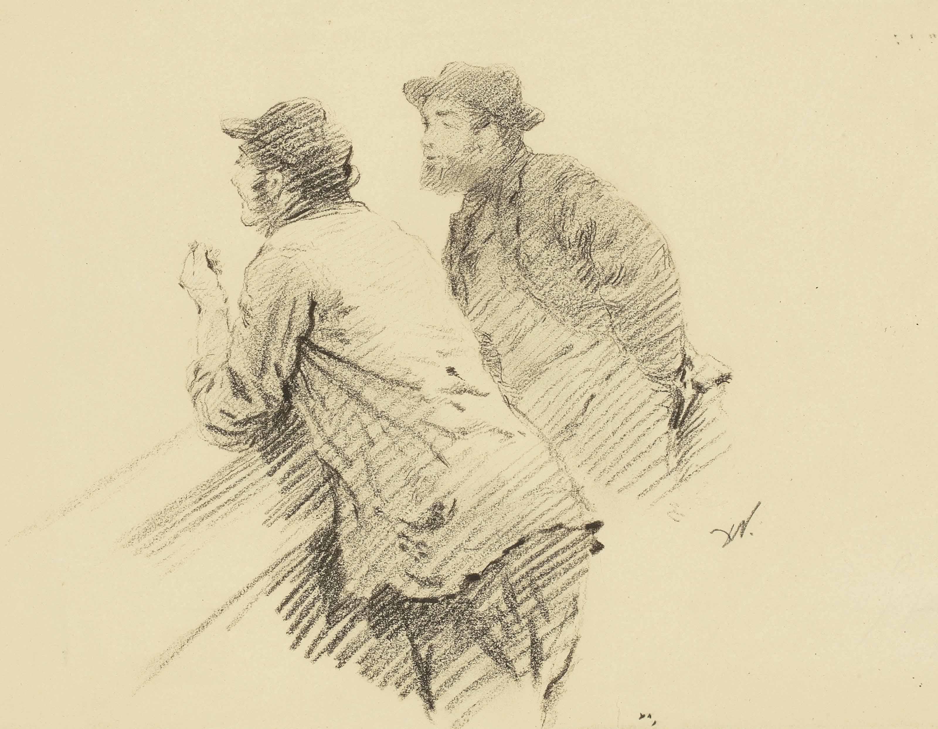 Deux hommes accoudés discutant
