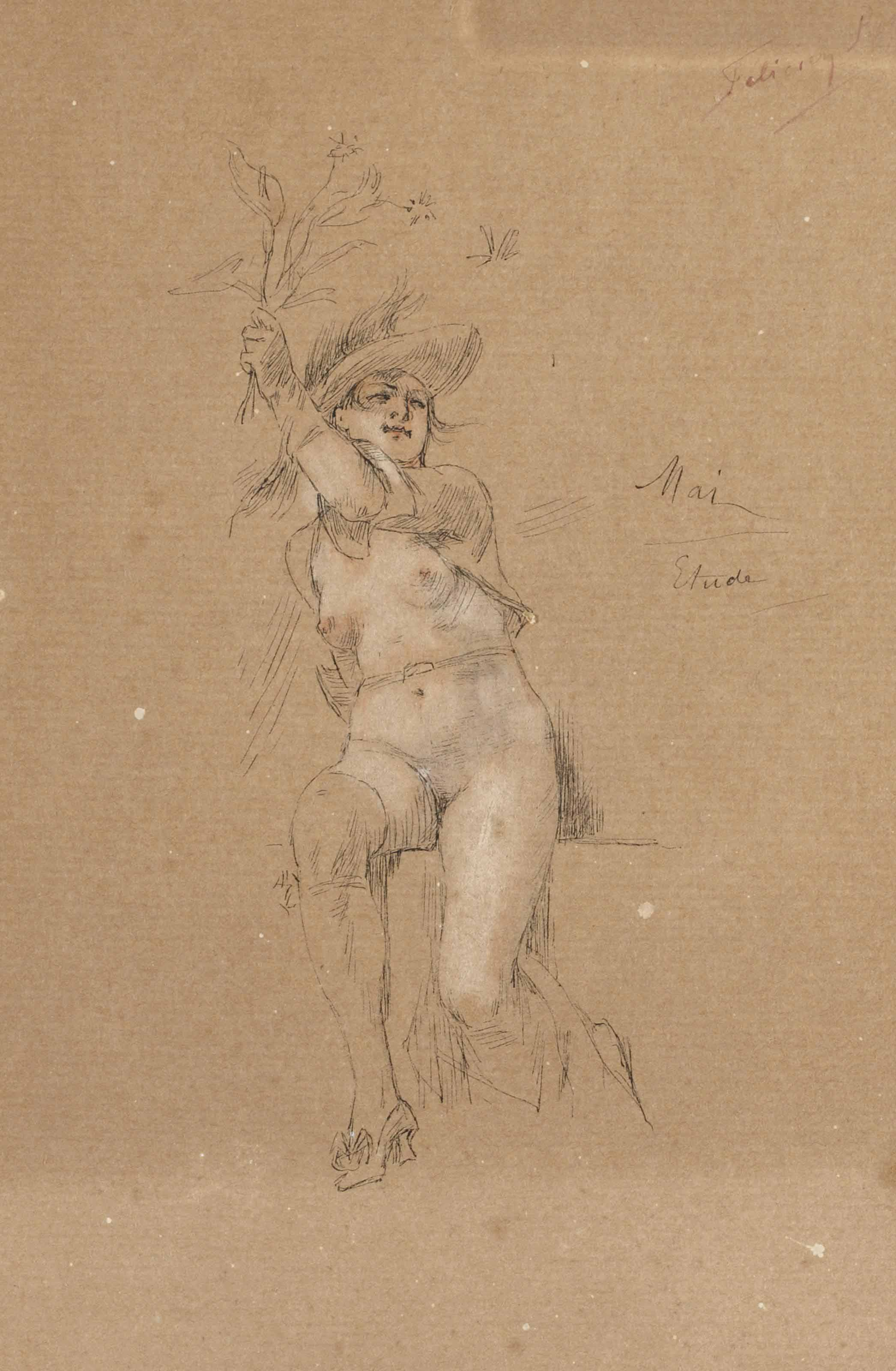 Femme nue assise tenant des fleurs; et Un satyre