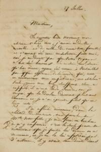 """VICTOR HUGO. Lettre autographe signée """"Victor M. Hugo"""" adressée à Pierre Foucher. Datée du 27 juillet [1821]. 3 pages et demie in-12 (173 x 115 mm) sur un feuillet replié. Encre sur papier. Suscription """"monsieur  monsieur Foucher, chev de la  légion d'honneur  rue du Cherche-Midi, n° 39  Paris. (Quelques petites rousseurs et une déchirure sans atteinte au texte.)"""